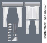 vector white curtains set for... | Shutterstock .eps vector #584532067
