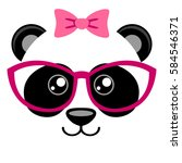 Cute Panda With Pink Bow And...
