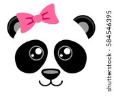 cute panda with pink bow.... | Shutterstock .eps vector #584546395