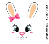 Stock vector cute bunny with pink bow girlish print with rabbit face for t shirt 584546455