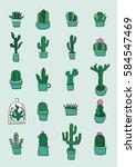 hand drawn green subtropical... | Shutterstock .eps vector #584547469