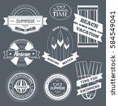 summer equipment set label... | Shutterstock .eps vector #584549041