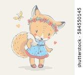 cute red fox in blue dress...   Shutterstock .eps vector #584550145