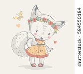 cute fox in dress cartoon hand... | Shutterstock .eps vector #584550184
