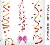 streamers and confetti  festive ... | Shutterstock .eps vector #584571421