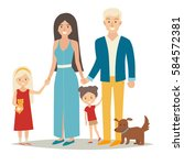 happy family with two kids and... | Shutterstock . vector #584572381
