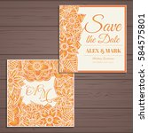 wedding invitation card suite... | Shutterstock .eps vector #584575801