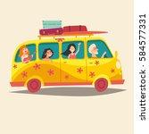 van with traveling happy people.... | Shutterstock . vector #584577331