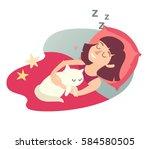 sleeping girl with cat. cartoon ... | Shutterstock . vector #584580505