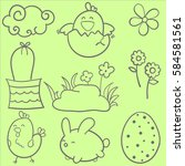 collection of easter style... | Shutterstock .eps vector #584581561