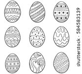 doodle of easter egg set vector