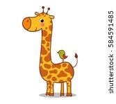 cute giraffe calf standing.... | Shutterstock .eps vector #584591485