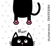 black cat looking up. funny... | Shutterstock .eps vector #584593084