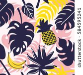 tropical seamless pattern.... | Shutterstock .eps vector #584595241