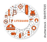 lifeguard flat outline icons... | Shutterstock .eps vector #584597035