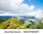 walking path to a view on the... | Shutterstock . vector #584598409