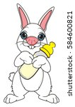 baby white bunny stand and hold ... | Shutterstock . vector #584600821
