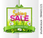 spring sale card with green... | Shutterstock .eps vector #584601121