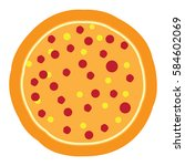 isolated pizza icon on a white... | Shutterstock .eps vector #584602069