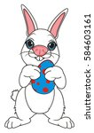easter white bunny stand and... | Shutterstock . vector #584603161