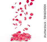 Stock photo rose petals fall to the floor isolated background 584604004