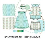 infant toddler girls' fashion... | Shutterstock .eps vector #584608225