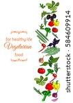 vertical banner for vegetarian... | Shutterstock .eps vector #584609914
