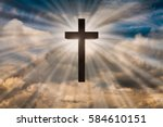 jesus christ cross on a... | Shutterstock . vector #584610151