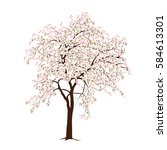 the blossoming apple tree in... | Shutterstock . vector #584613301