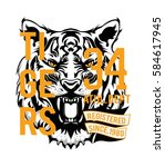 angry tiger face | Shutterstock .eps vector #584617945