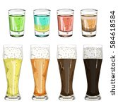 set glass shot with color... | Shutterstock .eps vector #584618584