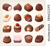 set of colorful chocolate... | Shutterstock .eps vector #584622295