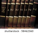 row of old leather law books on ... | Shutterstock . vector #58462360