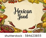 mexican traditional food... | Shutterstock .eps vector #584623855