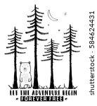 bear and forest illustration... | Shutterstock .eps vector #584624431