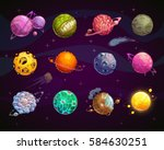 fantasy colorful planets set.... | Shutterstock .eps vector #584630251