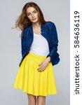beautiful female model   Shutterstock . vector #584636119