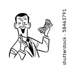 man with wad of cash   retro... | Shutterstock .eps vector #58463791