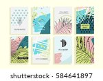 universal floral posters set.... | Shutterstock .eps vector #584641897