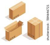 vector isometric cardboard... | Shutterstock .eps vector #584646721