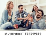 cheerful group of friends... | Shutterstock . vector #584649859