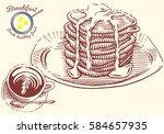 hand drawn breakfast... | Shutterstock .eps vector #584657935
