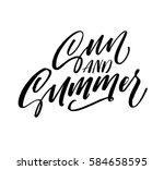 sun and summer postcard. ink... | Shutterstock .eps vector #584658595