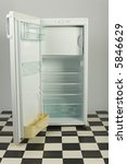 opened  empty fridge  standing