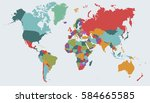 world map countries vector on... | Shutterstock .eps vector #584665585