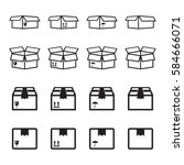 set of packaging box icon. flat ... | Shutterstock .eps vector #584666071