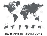 gray world map vector on white... | Shutterstock .eps vector #584669071