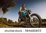 biker seat on the motorcycle... | Shutterstock . vector #584680855
