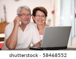 senior couple at home with... | Shutterstock . vector #58468552