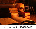 still life of ancient books and ... | Shutterstock . vector #584688499